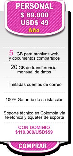 Precios hosting Servicios Virtuales Plan personal $89000
